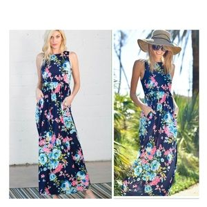 Dresses - Navy Floral Maxi Dress with Pockets